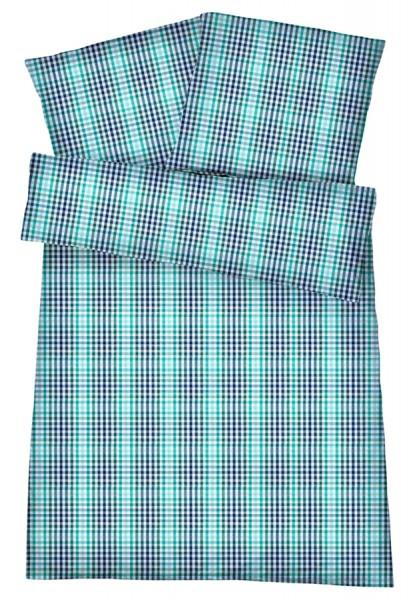 Mako-Perkal Bettwäsche 135x200 cm - Karos 2 - Grün aus 100% Baumwolle
