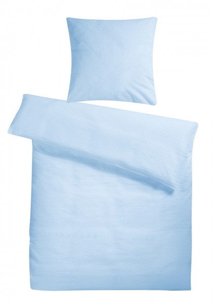 Seersucker Bettwäsche Hellblau Uni aus 100% Baumwolle