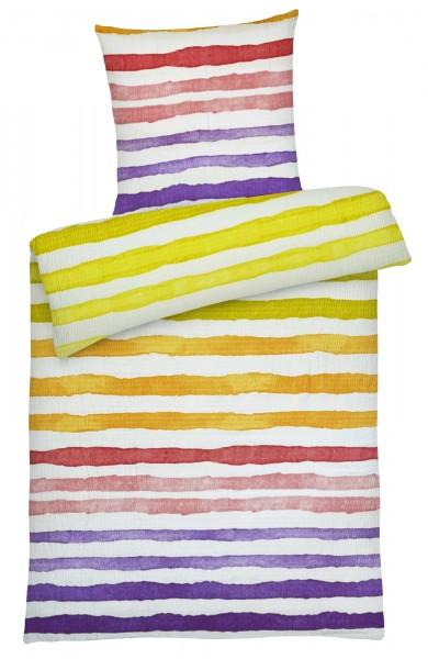 Seersucker Bettwäsche bunte Streifen Lila aus 100% Baumwolle