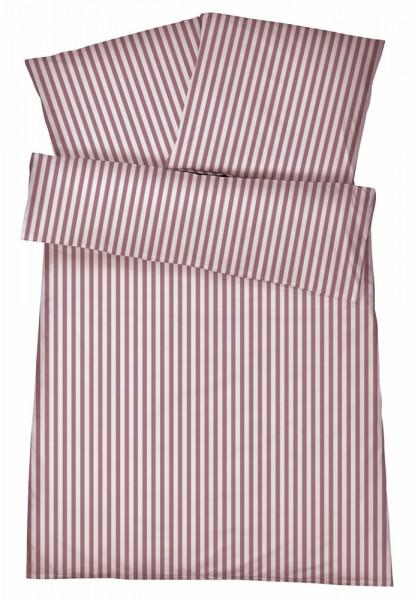 Mako-Perkal Bettwäsche 135x200 cm - Streifen 5 - Rot aus 100% Baumwolle