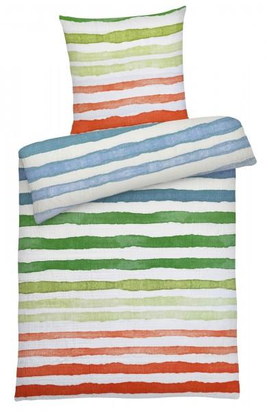 Seersucker Bettwäsche bunte Streifen Orange aus 100% Baumwolle