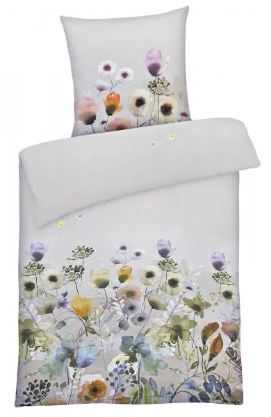 Biber Bettwäsche bunte Blumen aus 100% Baumwolle Blaugrau