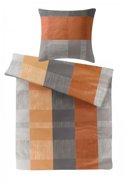 Biber Bettwäsche Streifen Terra aus 100% Baumwolle