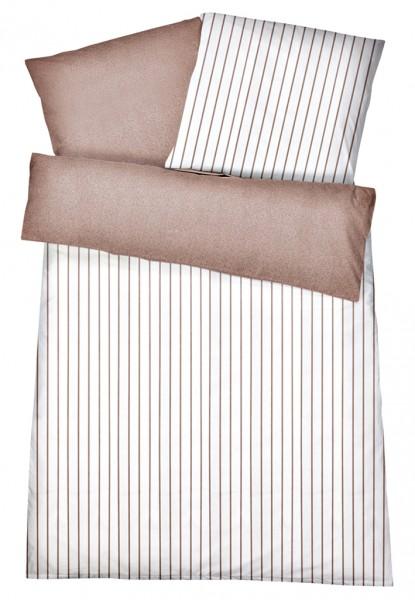 Interlock Jersey Wendebettwäsche Streifen Melange Braun aus 100% Baumwolle
