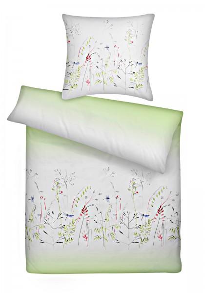 Mako Satin Bettwäsche Libelle Grün aus 100% Baumwolle