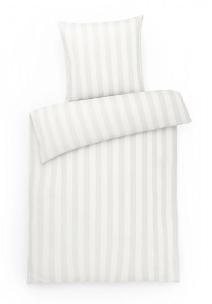 Mako Brokat Damast Bettwäsche Blockstreifen Silber aus 100% Baumwolle