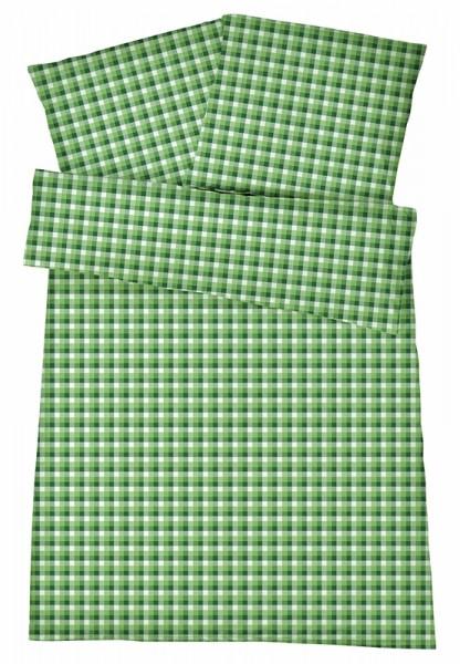Mako-Perkal Bettwäsche 135x200 cm - Karos 5 - Grün aus 100% Baumwolle