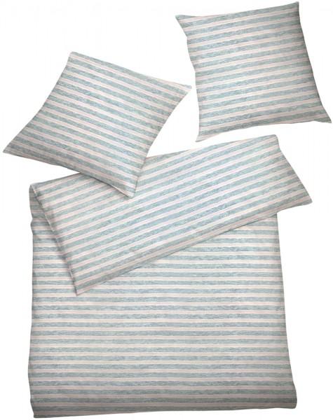 Interlock Jersey Bettwäsche Streifen Grau Rosa aus 100% Baumwolle
