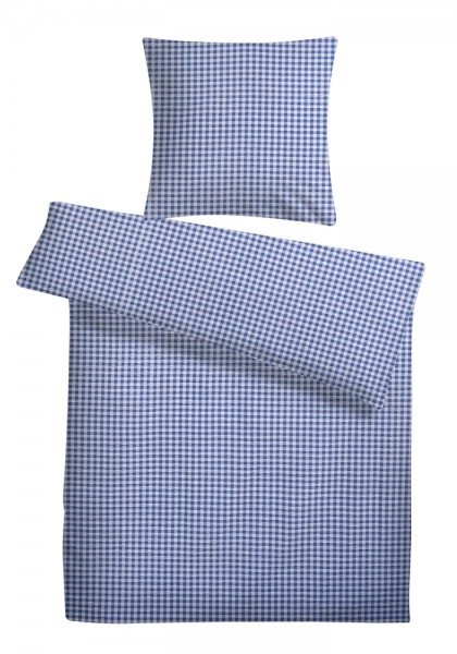 Seersucker Bettwäsche Karo Blau Aus 100 Baumwolle