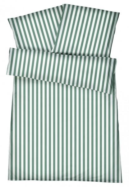 Mako-Perkal Bettwäsche 135x200 cm - Streifen 6 - Grün aus 100% Baumwolle