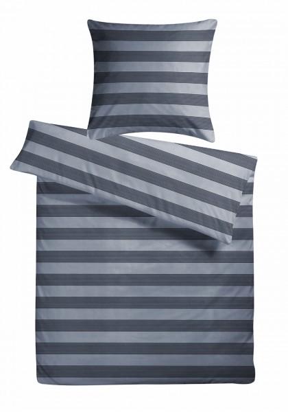 Mako Satin Bettwäsche Stripes Grau aus 100% Baumwolle