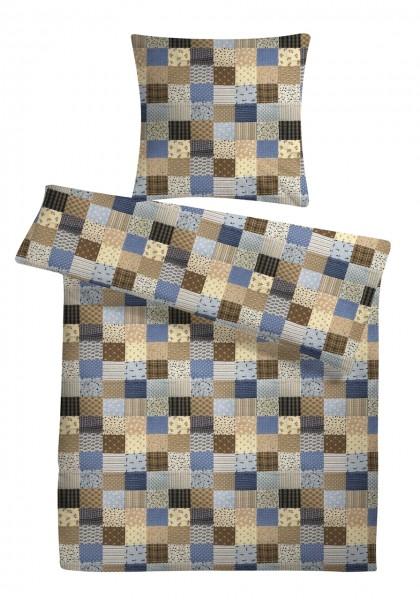 Seersucker Bettwäsche Patchwork Blau aus 100% Baumwolle