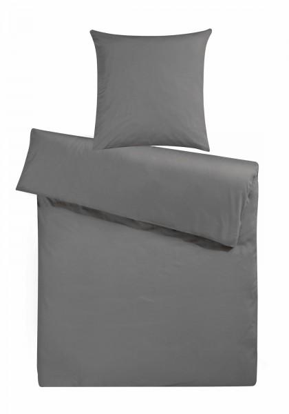 Biber Bettwäsche Anthrazit Uni aus 100% Baumwolle