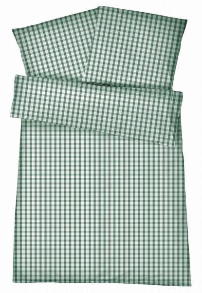 Mako-Perkal Bettwäsche 135x200 cm - Karos 2b - Grün aus 100% Baumwolle