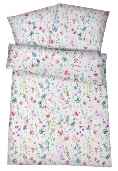 Damast & Mako-Satin Bettwäsche Blumen aus 100% Baumwolle