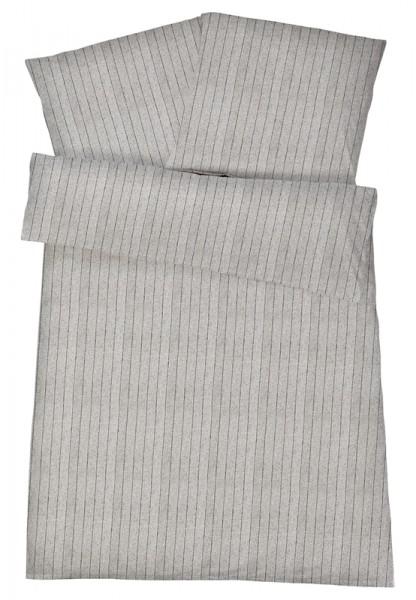 Biber Bettwäsche Hellgrau Feinstreifen aus 100% Baumwolle