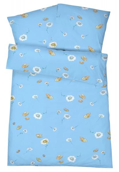Mako Satin Bettwäsche Schmetterlinge Blau aus 100% Baumwolle
