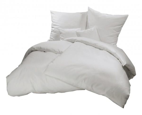 Biber Bettwäsche Grau Uni aus 100% Baumwolle